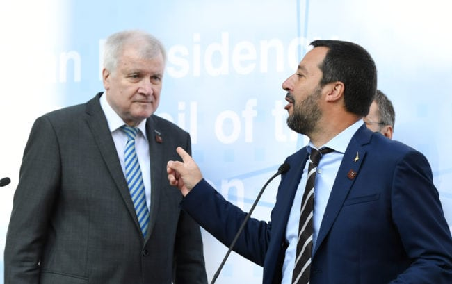 INNSBRUCK, AUSTRIA - JULY 12: German Interior Minister Horst Seehofer (L) and Italian Interior Minister Matteo Salvini leave a press conference during the European Union member states' interior and justice ministers conference on July 12, 2018 in Innsbruck, Austria. The meeting is taking place among mounting efforts by governments across Europe to restrict the entry of migrants and refugees. (Photo by Andreas Gebert/Getty Images)