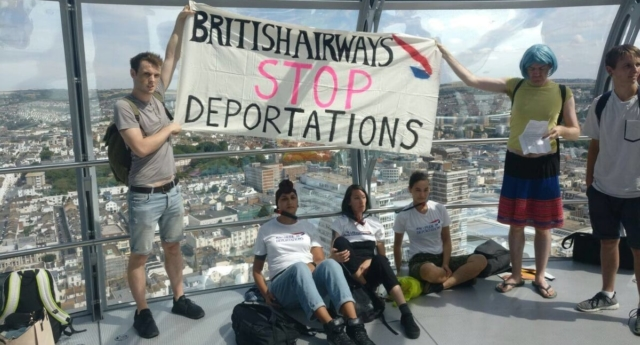 The protesters occupied the i360 tower in Brighton (Lesbians and Gays Support the Migrants)