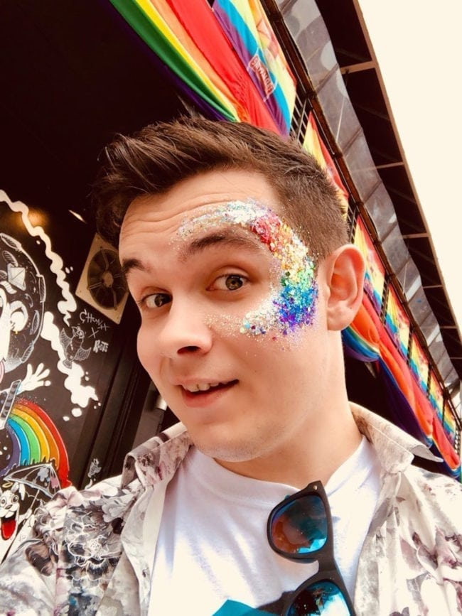 "Nick Hurley, gay man who threw glitter at a driver who called him a ""faggot""."