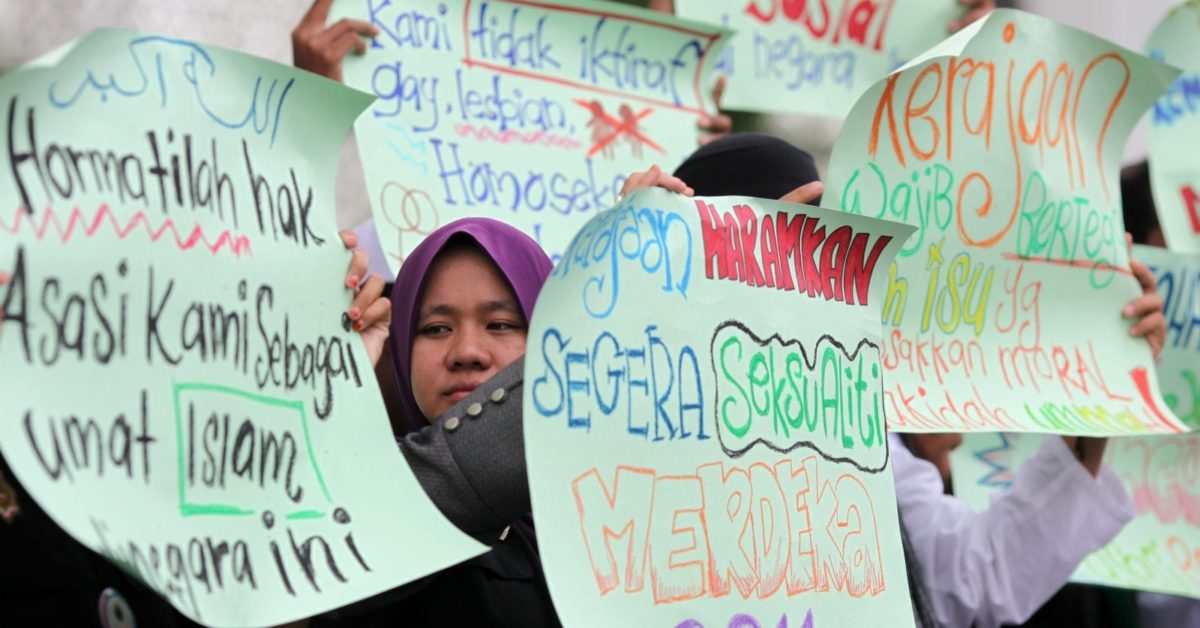 Malaysian protesters hold a protest to urge the government to give recognition to the lesbian, gay, bisexual and transgender (LGBT) community on November 4, 2011 (Mohd Rasfan/AFP/Getty)
