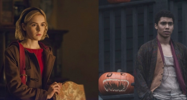 Kiernan Shipka as Sabrina Spellman and Chance Perdomo as Ambrose Spellman (Netflix)