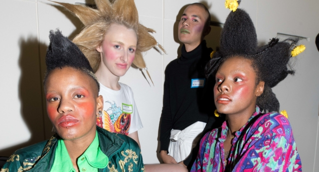 Models, including Jon Belle and Tajah Hamilton, at London Queer Fashion Show. (Cherry Auhoni)