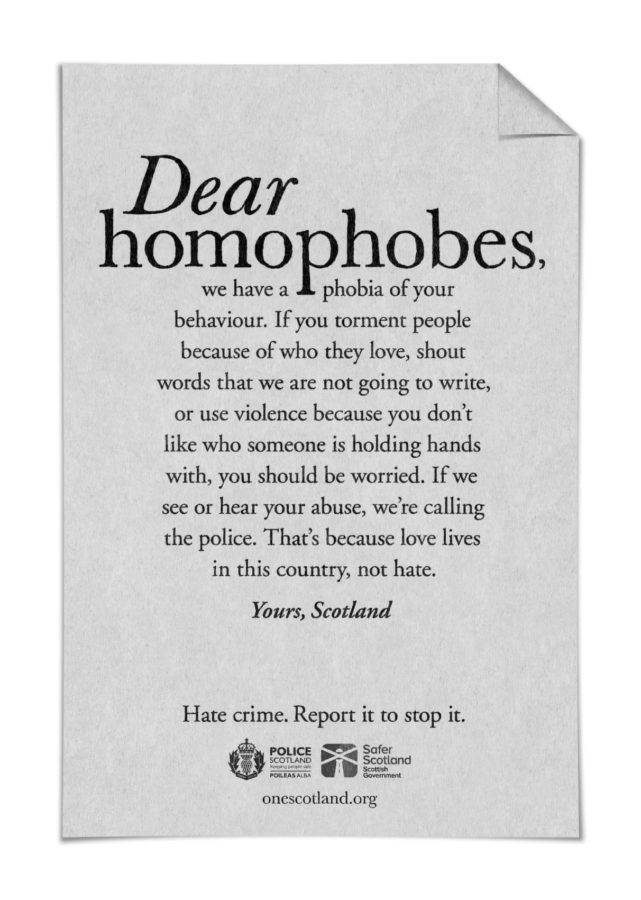 A campaign ad from the Scottish Government and Police Scotland aiming to tackle homophobic abuse.