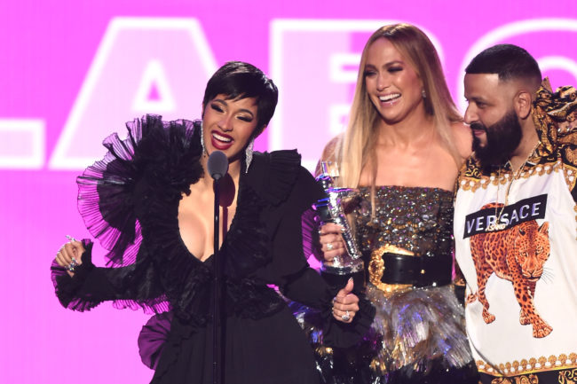 NEW YORK, NY - AUGUST 20: (L-R) Cardi B, Jennifer Lopez, and DJ Khaled accept the award for Best Collaboration onstage during the 2018 MTV Video Music Awards at Radio City Music Hall on August 20, 2018 in New York City. (Photo by Michael Loccisano/Getty Images for MTV)