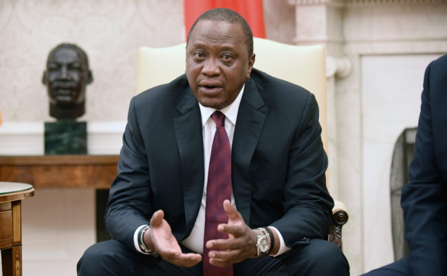 WASHINGTON, DC - AUGUST 27: Kenyan President Uhuru Kenyatta speaks duirng a bilateral meeting with U.S. President Donald Trump in the Oval Office of the White House August 27, 2018 in Washington, DC. (Photo by Olivier Douliery-Pool/Getty Images)