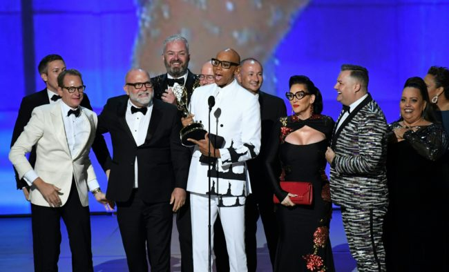RuPaul(C) and cast and crew accept the Outstanding Reality-Competition Program for 'RuPaul's Drag Race' onstage during the 70th Emmy Awards at the Microsoft Theatre in Los Angeles, California on September 17, 2018. (Photo by Robyn Beck / AFP) (Photo credit should read ROBYN BECK/AFP/Getty Images)