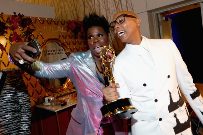 LOS ANGELES, CA - SEPTEMBER 17: Actors Leslie Jones (L) and RuPaul attend IMDb LIVE After The Emmys 2018 on September 17, 2018 in Los Angeles, California. (Photo by Rich Polk/Getty Images for IMDb)