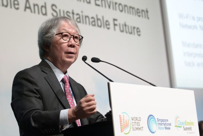 Singapore Ambassador-at-large Tommy Koh speaks during the opening plenary session at the World Cities Summit on June 2, 2014. Some 20,000 delegates representing the government, industry, international organisations and academia are expected to attend the World Cities Summit (WCS), Singapore International Water Week (SIWW) and CleanEnviro Summit Singapore (CESS) taking place on June 1 to 5. AFP PHOTO / ROSLAN RAHMAN (Photo credit should read ROSLAN RAHMAN/AFP/Getty Images)
