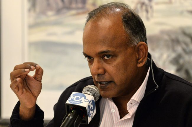 Singapore's Home Affairs Minister K. Shanmugam speaks to journalists during the Foreign Correspondents Association of Singapore luncheon in Singapore on December 2, 2016. The danger of attacks by Islamic State (IS) supporters in Southeast Asia has increased as the group searches for new fronts after setbacks in the Middle East, Singapore's internal security minister warned on December 2. / AFP / ROSLAN RAHMAN (Photo credit should read ROSLAN RAHMAN/AFP/Getty Images)