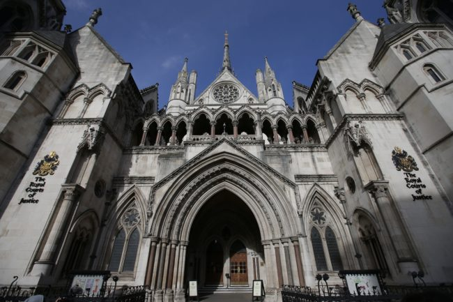 The Royal Courts of Justice building, which houses the High Court of England and Wales, is pictured in London on February 3, 2017. (DANIEL LEAL-OLIVAS/AFP/Getty)