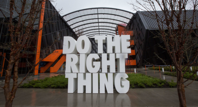 A giant sculpture reads 'Do the right thing,' at the Nike headquarters on March 22, 2018 in Beaverton, Oregon. (Natalie Behring/Getty)