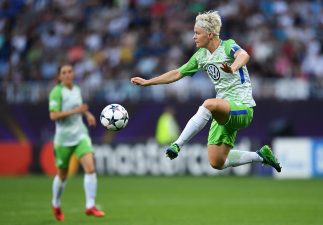 KIEV, UKRAINE - MAY 24: Nilla Fischer of Vfl Wolfsburg in action during the UEFA Womens Champions League Final between VfL Wolfsburg and Olympique Lyonnais on May 24, 2018 in Kiev, Ukraine.  (Photo by David Ramos/Getty Images)