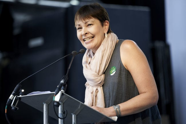 Co-Leader of the Green Party of England and Wales Caroline Lucas speaks during the People's March demanding a People's Vote on the final Brexit deal, in central London on June 23, 2018, the second anniversary of the 2016 referendum. - Tens of thousands of people demonstrated in London on Saturday calling for a second vote on Britain's departure from the European Union. (Photo by Niklas HALLE'N / AFP) (Photo credit should read NIKLAS HALLE'N/AFP/Getty Images)