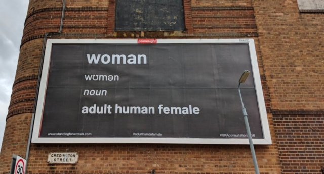 An anti-trans billboard in Liverpool has been taken down by the advertising company that put it up. (kiwibirdxx/Twitter)