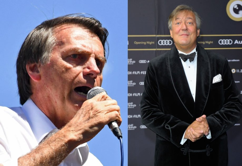 This combined picture shows Brazilian politician Jair Bolsonaro (L) and British writer and actor Stephen Fry (R) (Evaristo SA/AFP/Getty Images; Lennart Preiss/Getty)