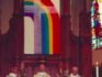 The rainbow banner hung up in the sanctuary of Resurrection Parish, Chicago. (ABC/Chicago Sun-Times)