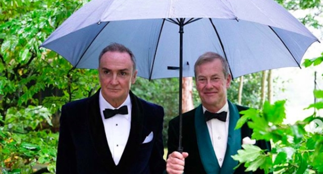 Lord Ivar Mountbatten (right) uploaded a photo on Instagram of him and his husband James Coyle on their wedding day. (ivar_mountbatten/Instagram)