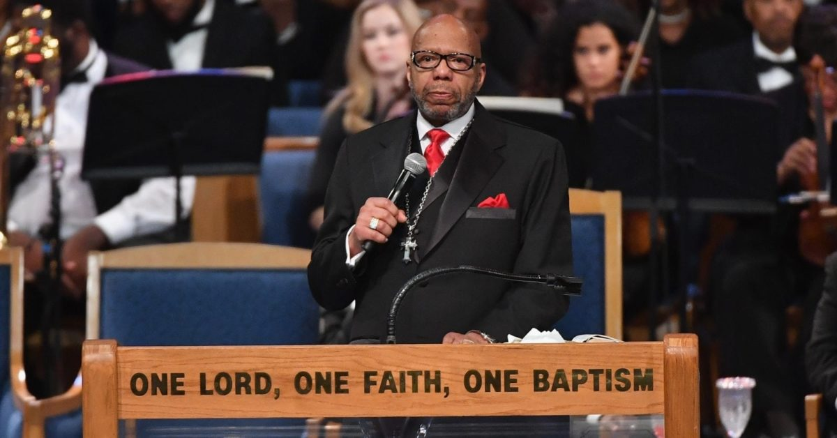Rev. Jasper Williams Jr. gives eulogy at Aretha Franklin's funeral at Greater Grace Temple on August 31, 2018 in Detroit, Michigan (Angela WeissAFP/Getty)