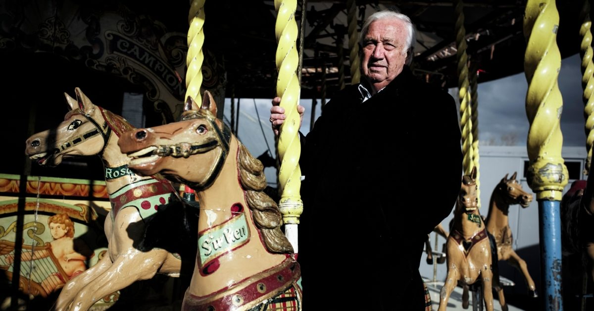 This picture taken on March 21, 2018 shows French showman Marcel Campion on one of his carousel in Pontault-Combault, outside of Paris. (Philippe Lopez/AFP/Getty)