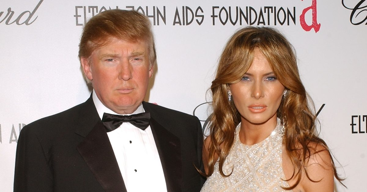 Donald and Melania Trump arrive at the 13th Annual Elton John Aids Foundation Academy Awards Viewing Party on February 27, 2005 in Los Angeles, California (Stephen Shugerman/Getty)