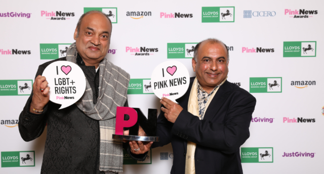 Indian-born campaigners Subodh Rathod and Niranjan Kamatkar collect the award for Campaigner of the Year at the 2018 PinkNews Awards (Paul Grace)