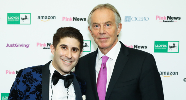 Blair with PinkNews CEO Benjamin Cohen (Paul Grace)