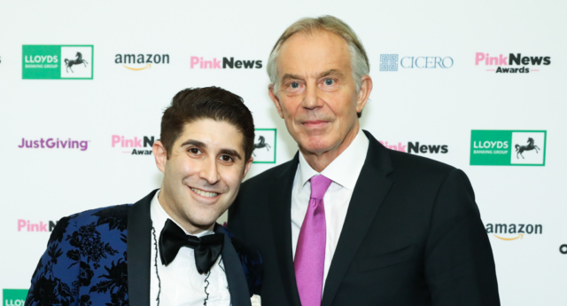 Tony Blair with PinkNews CEO Benjamin Cohen (Paul Grace)