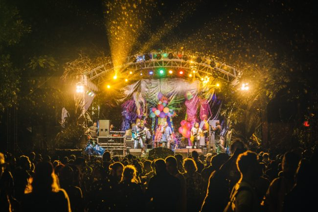 A photo taken on September 5, 2017 shows the stage during the Nyege Nyege Festival, the annual four-day international music festival, in Jinja, Uganda. - The Ugandan authorities announced on September 4, 2018 the ban of one of East Africa's most important electronic music festivals, as they they believe it promotes sex, homosexuality and other practices that are considered immoral, but which the organizers are defending. (Photo by Ian Duncan KACUNGIRA / AFP)        (Photo credit should read  Images)