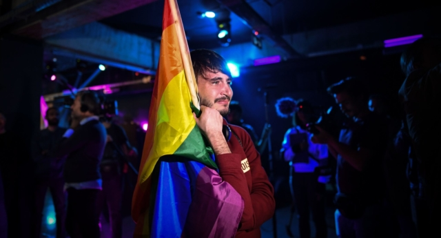 A member of the LGBT community waits for the results of a referendum in Bucharest, Romania on October 7, 2018. (Daniel Mihailescu/AFP/Getty)