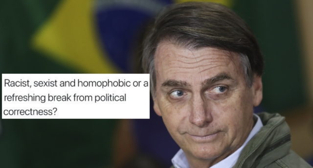 Bolsonaro was elected on October 29 despite a history of anti-gay comments (Ricardo Moraes-Pool/Getty and bbcmonitoring/twitter)