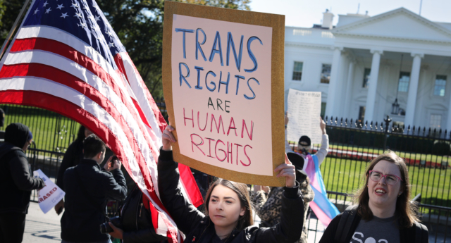 A 'We Will Not Be Erased' rally in front of the White House October 22, 2018, after the New York Times published news of an unreleased Trump administration memo that proposes a trans-exclusive legal definition of gender. (Chip Somodevilla/Getty)