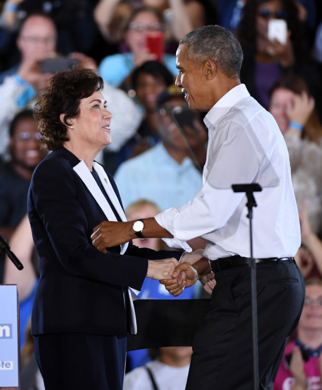 LAS VEGAS, NEVADA - OCTOBER 22:  U.S. Rep. and U.S. Senate candidate Jacky Rosen (D-NV) (L) greets former U.S. President Barack Obama at a get-out-the-vote rally at the Cox Pavilion as he campaigns for Nevada Democratic candidates on October 22, 2018 in Las Vegas, Nevada. Early voting in Clark County, Nevada began on October 20 and has recorded the highest turnout during the first two days of early voting in a midterm election.  (Photo by Ethan Miller/Getty Images)