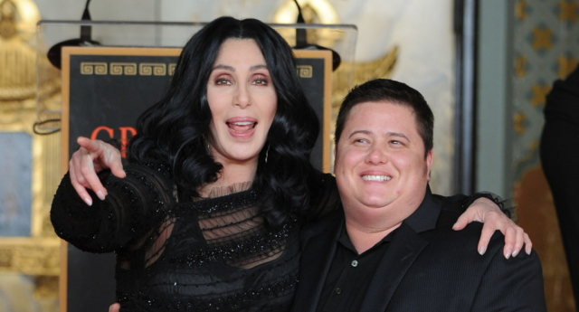 Cher poses with her son Chaz Bono in 2010 (MARK RALSTON/AFP/Getty Images)