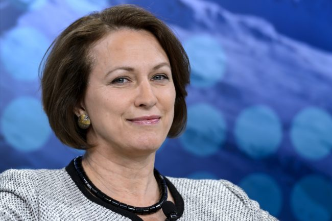 Lloyd's CEO Inga Beale attends a session during the World Economic Forum (WEF) annual meeting on January 24, 2015 in Davos. AFP PHOTO / FABRICE COFFRINI (Photo credit should read FABRICE COFFRINI/AFP/Getty Images)