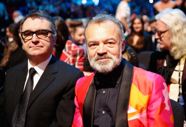LONDON, ENGLAND - JANUARY 20: (L-R) Graham Stuart and Graham Norton at the 21st National Television Awards at The O2 Arena on January 20, 2016 in London, England. (Photo by Tristan Fewings/Getty Images)