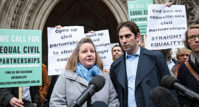 Charles Keidan and Rebecca Steinfeld filed a legal challenge to call for straight civil partnerships (Jack Taylor/Getty Images)