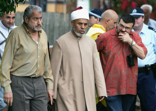 SYDNEY, AUSTRALIA - NOVEMBER 03: Controversial muslim cleric Sheik Taj el-Din al Hilaly arrives for Friday prayers at Lakemba mosque November 3, 2006 in Sydney, Australia. Hilaly was expected to speak at the prayers in his first public appearance since being hospitalized on October 30, 2006. The mufti has faced criticism in Australia following a sermon last month in which he suggested that immodestly dressed women invited sexual assault. (Photo by Ian Waldie/Getty Images)