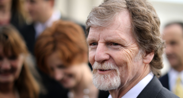 Conservative Christian baker Jack Phillips talks with journalists in front of the Supreme Court December 5, 2017 in Washington, DC. (Chip Somodevilla/Getty)
