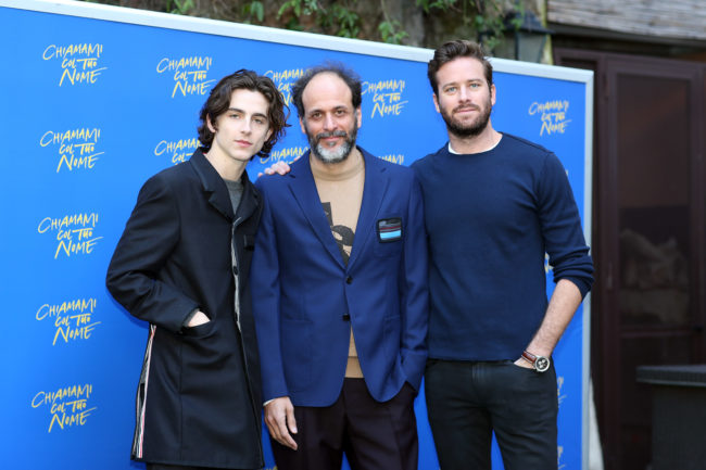 ROME, ITALY - JANUARY 24: (L-R) Timothee Chalamet, Italian director Luca Guadagnino and Armie Hammer attend 'Chiamami Col Tuo Nome (Call Me By Your Name)' at De Russie Hotel on January 24, 2018 in Rome, Italy. (Photo by Contigo/Getty Images)