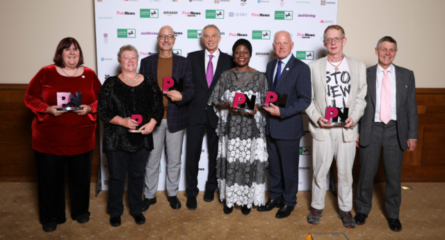 ifetime Achievement Award winners, Stonewall founders, pose with former Prime Minister Tony Blair (Paul Grace)