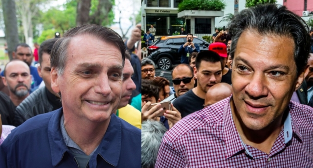 Photo combination of Brazilian presidential candidates Jair Bolsonaro (L) and Fernando Haddad (R)  (Fernando Souza/AFP/Getty; Flavio Florido/AFP/Getty Images)