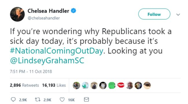 Lindsey Graham responds to Chelsea Handler's 'homophobic' tweet about him