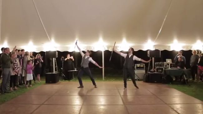 Gay couple stun wedding guests with flawless first dance mash-up