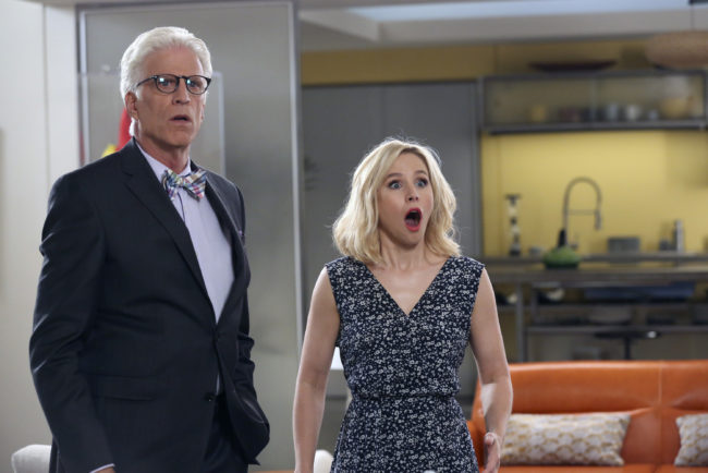 "THE GOOD PLACE -- ""Michael's Gambit"" Episode 113 -- Pictured: (l-r) Ted Danson as Michael, Kristen Bell as Eleanor Shellstrop -- (Photo by: Vivian Zink/NBC)"