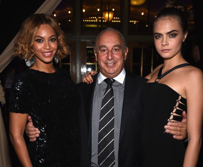 Beyoncé, Sir Philip Green and Cara Delevingne pictured together at a Topshop event