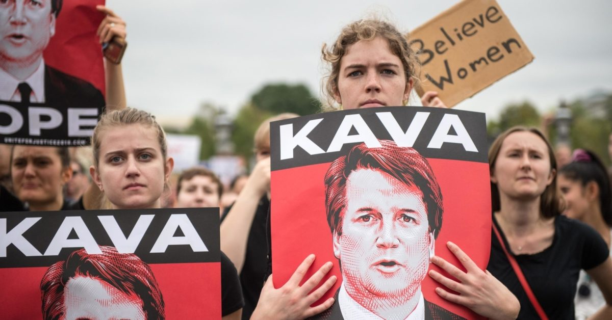 Women demonstrators protest against the appointment of Supreme Court nominee Brett Kavanaugh at the US Capitol in Washington DC, on October 6, 2018. (Roberto Schmidt/AFP/Getty)