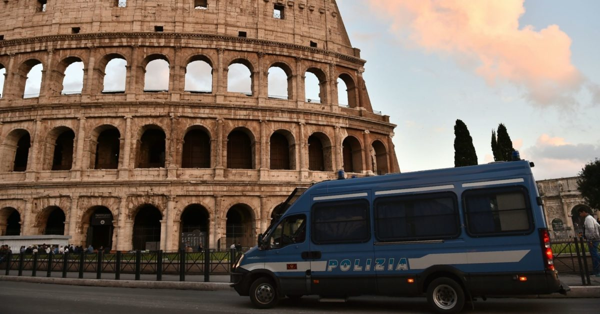 This photo taken on May 12, 2016 in Rome shows a police van stationed outside of the Colosseum. (Gabriel Bouys/AFP/Getty)