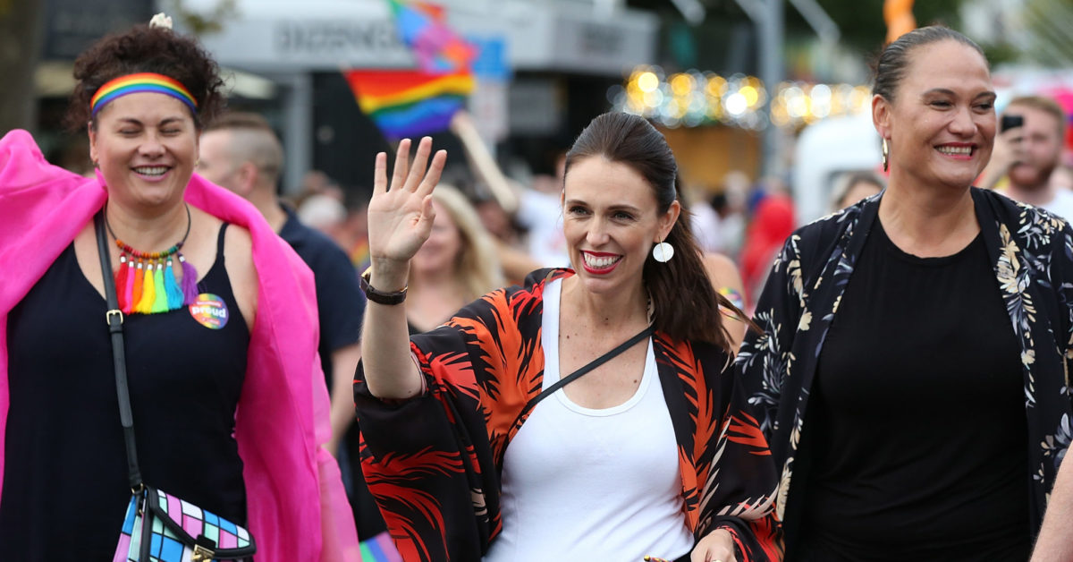 New Zealand Prime Minister Jacinda Ardern (C) is the first PM to walk in the Pride Parade on February 17, 2018 in Auckland, New Zealand.  (Fiona Goodall/Getty)