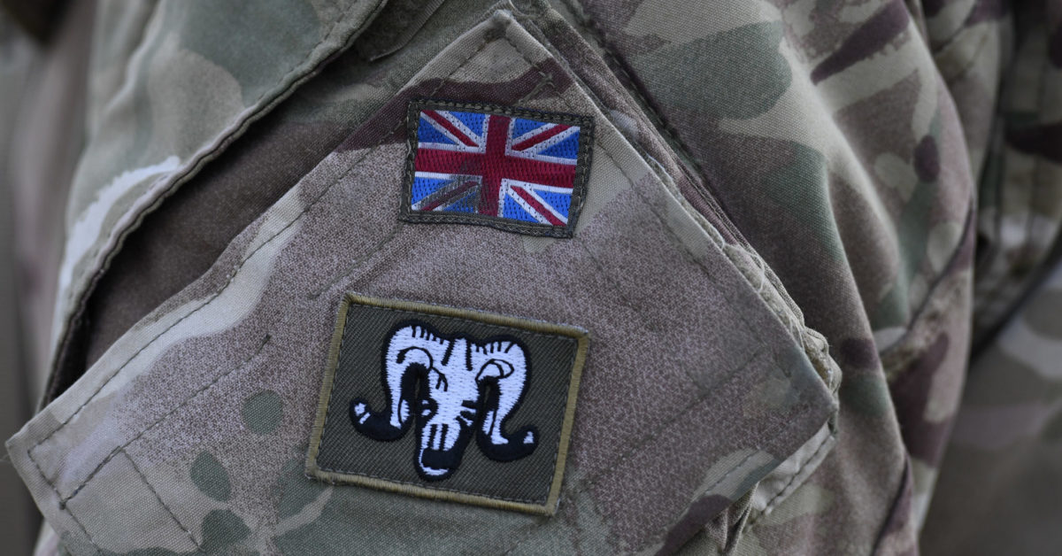 A British flag is pictured on a soldier's uniform during the 'Dynamic Front 18' exercise in southern Germany, on March 7, 2018. (Christof Stache/AFP/Getty)