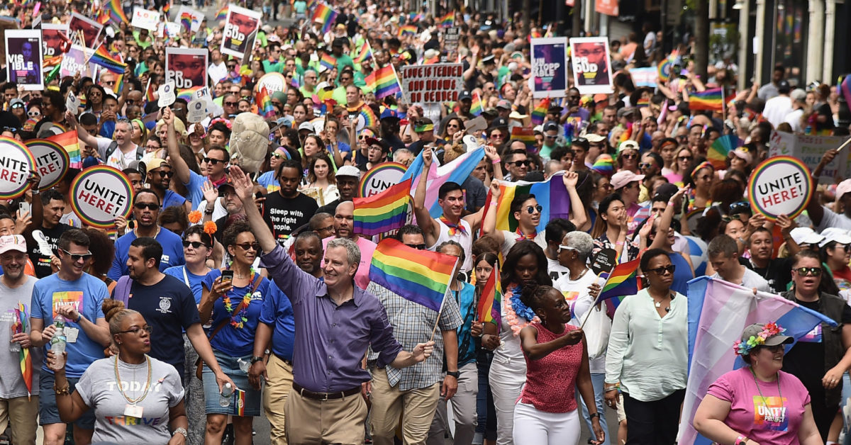 NYC Mayor Bill de Blasio and First Lady Chirlane McCray attend the 2018 New York City Pride March on June 24, 2018 in New York City.  (Theo Wargo/Getty)